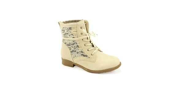 Dámské béžové boty s krajkou Colorful