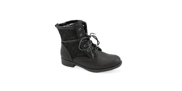 Dámské černé boty s krajkou Colorful