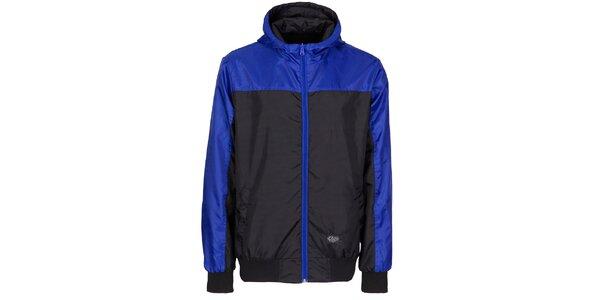Pánská černá sportovní bunda Chico s modrými detaily