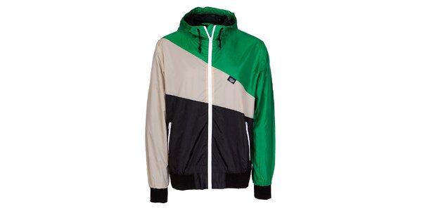 Pánská zeleno-černo-šedá jarní sportovní bunda Chico