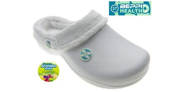 Dámské bílé voňavé pantofle Beppi s vnitřním kožíškem