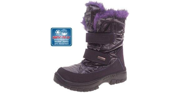 Dámské tmavě fialové sněhule Beppi s membránou a kožíškem