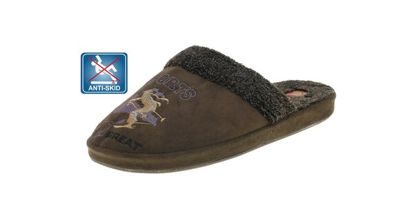 Dámské tmavě hnědé plyšové pantofle Beppi