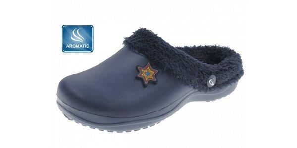 Dámské temně modré voňavé pantofle Beppi s vnitřním kožíškem