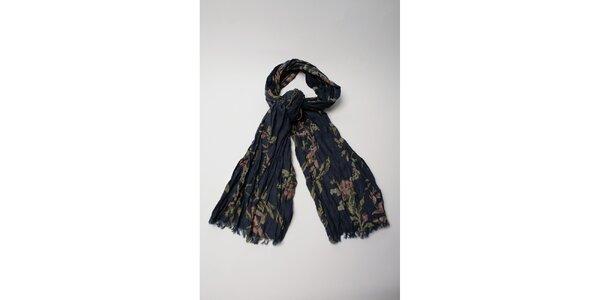 Dámský tmavě modrý šátek s květinovým potiskem Wanda