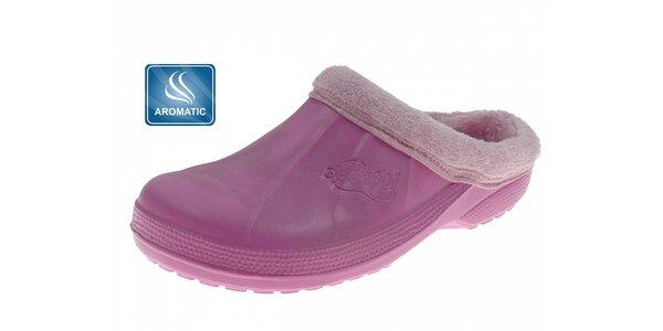 Dámské růžové voňavé pantofle Beppi s vnitřním kožíškem