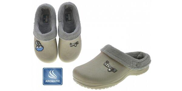 Dámské béžové voňavé pantofle Beppi s vnitřním kožíškem