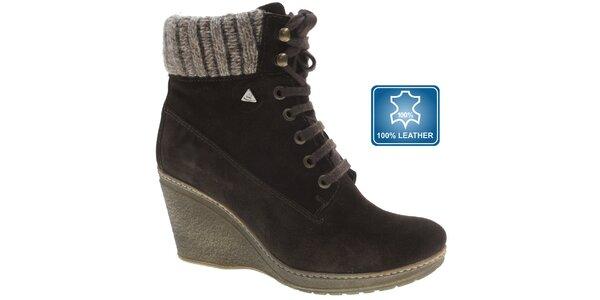 Dámské tmavě hnědé semišové boty Beppi na vysokém klínku