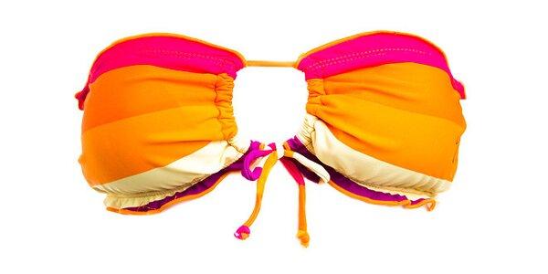Dámská oranžovo-fialová plavková podprsenka Fundango s proužky