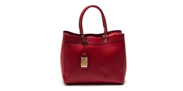 Dámská červená kožená kabelka Carla Ferreri