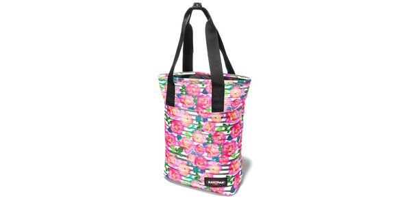 Dámská proužkovaná taška Eastpak s květinovým potiskem