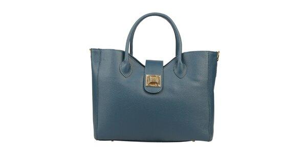 Dámská modrozelená kabelka se dvěma uchy Made in Italia