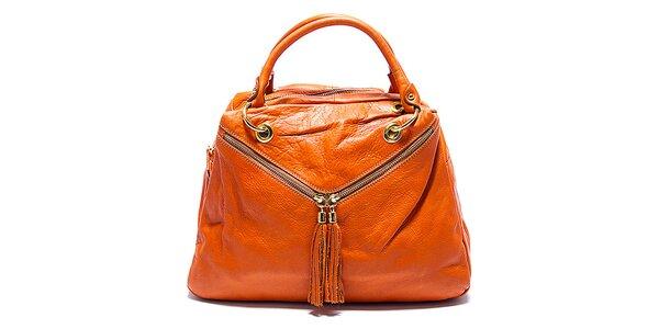 Dámská koňaková kožená kabelka s šikmými zipy Renata Corsi