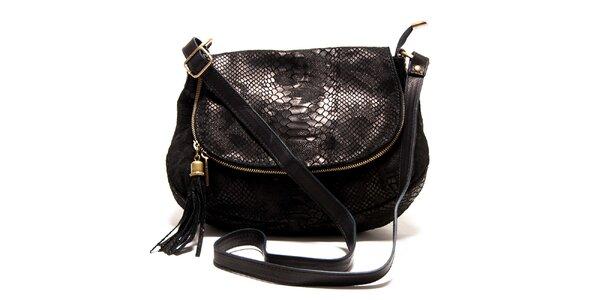 Dámská černá kabelka s hadím vzorem Roberta Minelli