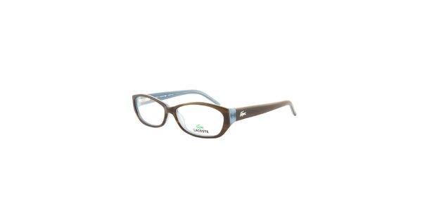 Oválné hnědo-modré brýle Lacoste