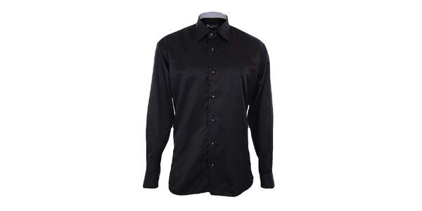 Pánská černá košile s kontrastní légou Dicotto