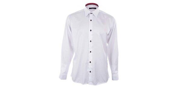 Pánská bílá košile s červeně podšitým límcem Dicotto
