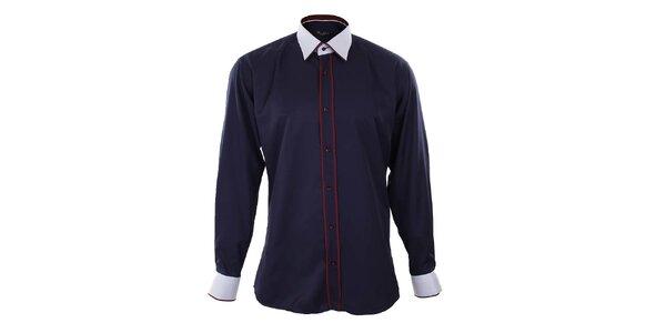 Pánská tmavě modrá košile s bílými límečkem a manžetami Dicotto