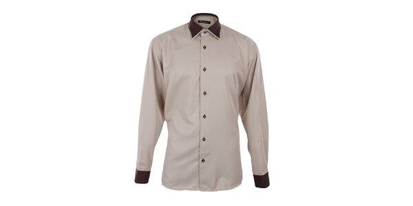 Pánská béžová košile s hnědými detaily Dicotto