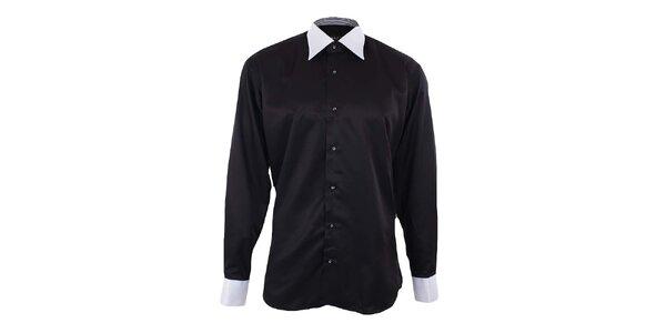 Pánská černá košile s bílým límečkem a manžetami Dicotto