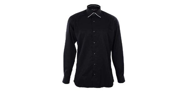 Pánská černá košile s bílými lemy Dicotto