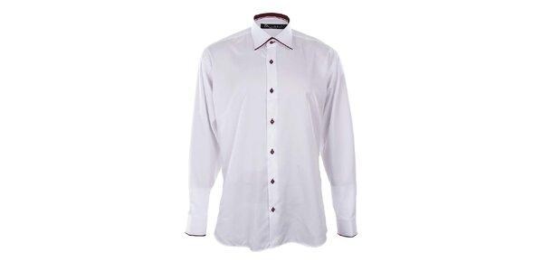 Pánská bílá košile s vínovými lemy Dicotto