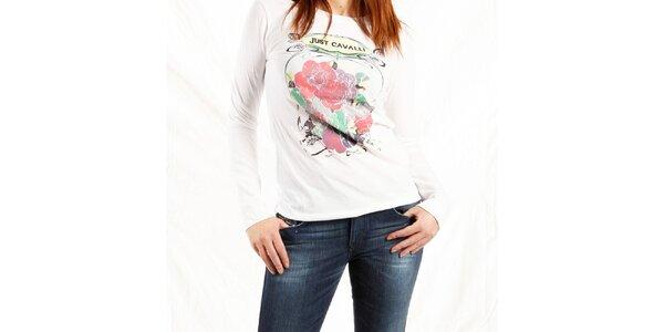 Dámské bílé tričko Just Cavalli s potiskem růží
