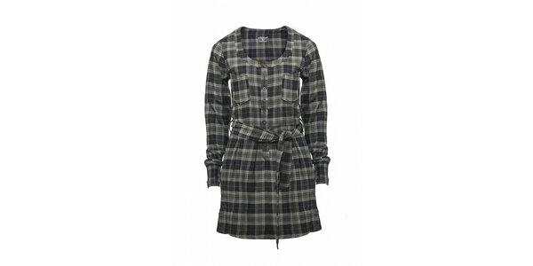 Dámská tmavě šedé kostkované šaty Fundango