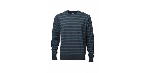 Pánský modrý proužkovaný svetr Fundango