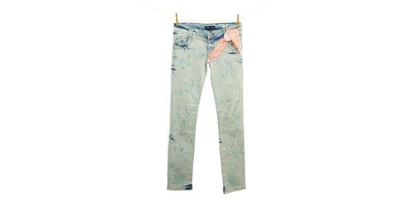 Dámské modré seprané džíny se šátkem Fuga