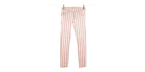 Dámské úzké růžově pruhované džíny Fuga