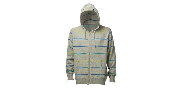 Pánský světle šedý proužkovaný svetr s kapucí