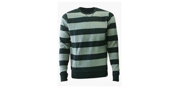 Pánský šedý proužkovaný svetr Fundango