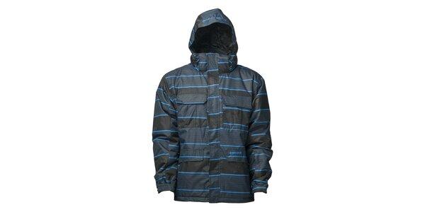 Pánská černá zimní bunda s modrým proužkem a membránou