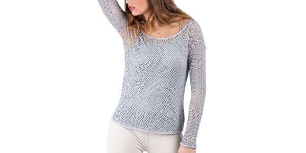 Dámské perlově šedé perforované tričko s tílkem Keysha