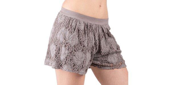 Dámské šedohnědé krajkové šortky Keysha