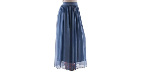 Dámská dlouhá modrá hedvábná sukně Keysha
