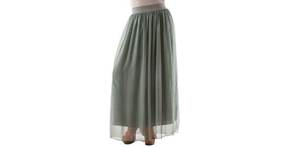 Dámská dlouhá zelená hedvábná sukně Keysha
