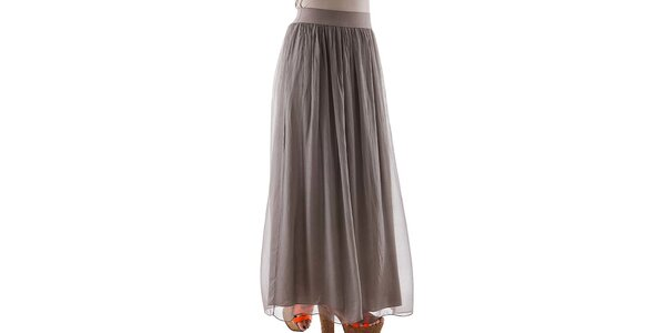 Dámská dlouhá hnědošedá hedvábná sukně Keysha
