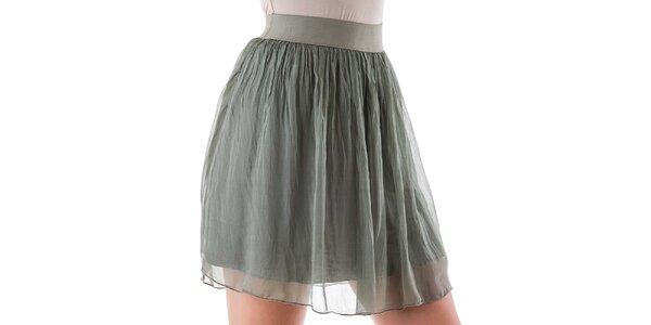 Dámská krátká zelená hedvábná sukně Keysha