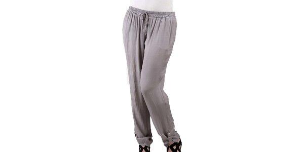 Dámské šedohnědé volné hedvábné kalhoty Keysha