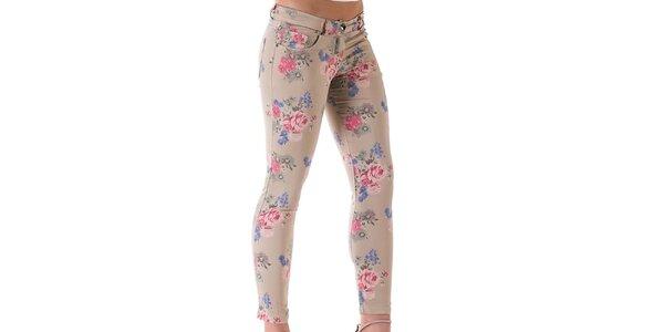 Dámské světle béžové květované kalhoty Keysha