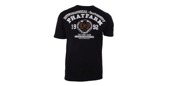 Pánské černé tričko s potiskem na hrudi Phat Farm