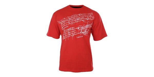 Pánské červené tričko s potiskem na hrudi Phat Farm