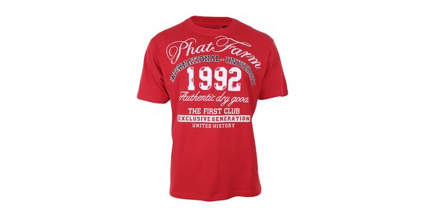 Pánské rudé potištěné tričko Phat Farm