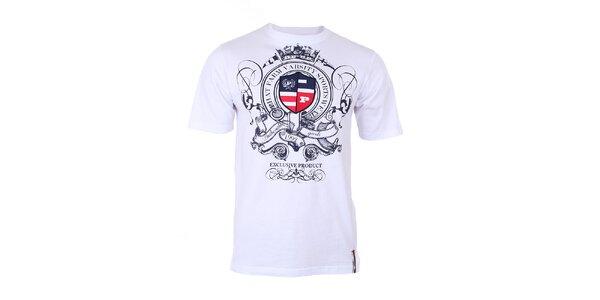 Pánské bílé tričko s modrým potiskem na hrudi Phat Farm