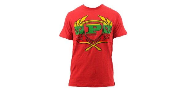Pánské červené tričko s barevným znakem Phat Farm