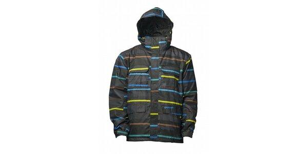 Pánská černá zimní bunda s barevným potiskem a membránou