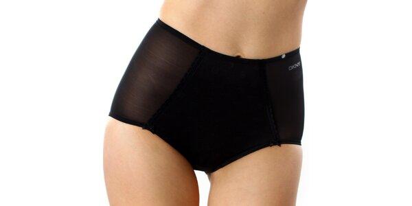 Dámské černé vysoké kalhotky s puntíky DKNY