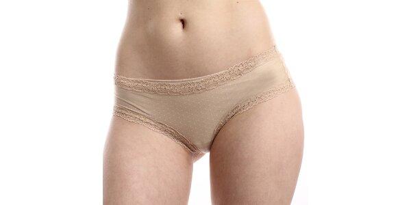 Dámské béžové puntíkaté kalhotky DKNY